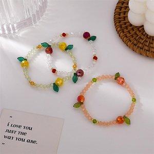 Personalità di cristallo della ciliegia coreana Trendy Trendy Sweet Colorful Elastic Rope Braccialetti per le donne Moda gioielli regalo fascino