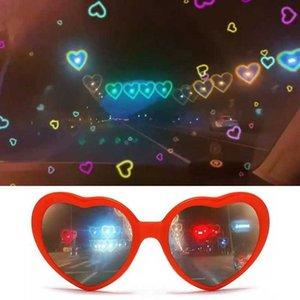2021 Heart Shape Special Effect Glass Flower Shape Party Eyewear Night Light Change Fashion Birthday Magic Sun Glass