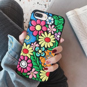 3D Cartoon Soft Back Silicone Cover Milk tea flower Phone Cases for iPhone 12 11 Pro XS Max XR X 8 7 OPP bag
