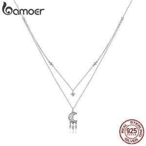 925 Sterling Silver Clear CZ Moon Dreamcatcher Collana pendente per le donne Regali di famiglia Regali Belle gioielli Collana BSN201 210512
