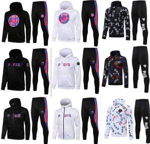 paris Black jacket hoodie Survetement tracksuit 21-22 chandal futbol MBAPPE football Long with hood fleece 2021 2022 soccer TRACKSUIT