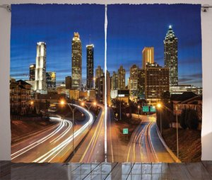 Curtain & Drapes Cityscape Curtains Vibrant Image Of Atlanta Downtown At Nighttime Multiple Lane Highway Skyscrapers Living Room Bedroom Win