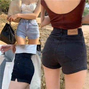 Высокая талия одежда корейский винтаж летнее лето широкая нога мода короткие брюки женские эластичные сексуальные повседневные джинские джинсовые шорты женские 210706