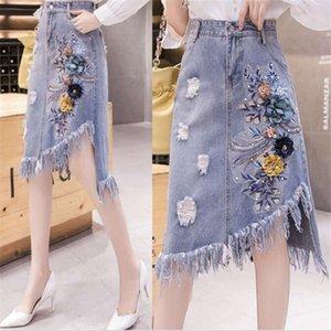 fashion hole denim skirts women's beading Flowers A word skirt Long sections Tassel burr irregular cowboy skirts 2020 new listing