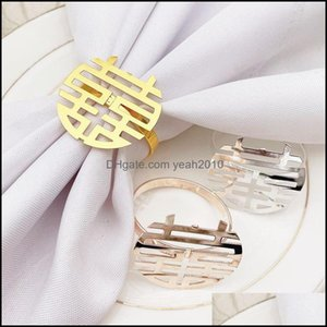 Table Decoration Aessories Kitchen, Dining Bar Home & Gardenpcs El Wedding Napkin Ring Buckle Gold Mouth Cloth Manufacturer Wholesale Rings