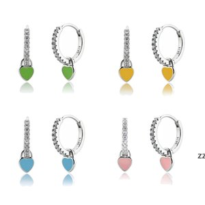 Heart Charm Hoop Earrings Fashion Women Luxury Round Circle Jewelry Studs 925 Sterling Silver Ear Buckle Crystal Rhinestone Huggie HWA8541
