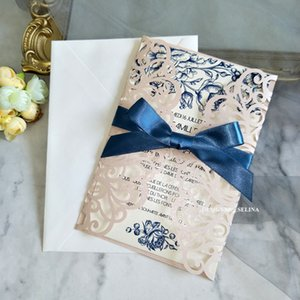 Blush Pink Shiny Wedding Invitation With Ribbon And Envelope DIY Hollow Greeting Cards For Sweet 15 Birthday Party