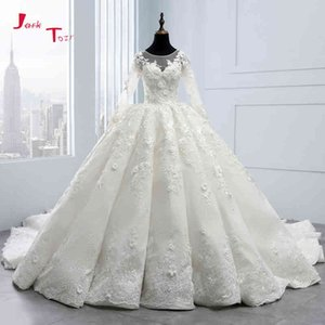 Bridal New Dresses Collection Long Mouwen Baldress Gowns Robe De Mariee Princesse Luxury 3d Flowers Wedding