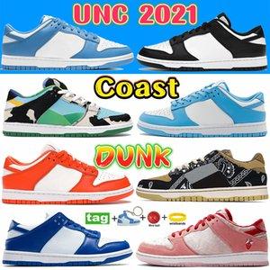 Coast Dunk SB UNC 2021 عارضة مصمم أحذية بيضاء أسود مكتنزة دانكي الفصح الوردي حمامة الظل الرجال النساء أحذية رياضية كنتاكي SP SYRACUSE شيكاغو البحرية الفاخرة المدربين