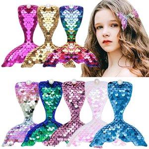 Girls Hair Accessories Pins Bb Clip Barrettes Clips For Children Kids Mermaid Cartoon Sequin Accessory 4Inch B4912