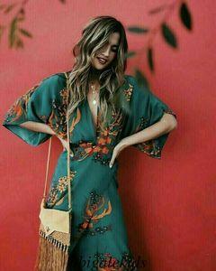 2020 женские V шеи Wrap Press Floral Print Kimono стиль половина рукава длинного макси три платье Boho Ladies Beach Vestido Plus размер