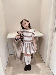 2021 girls designer outfits Summer Kids luxury clothing sets children stripe short sleeve T-shirt+casual mini skirt 2pcs suits V486