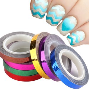 Perfections7 Roll Metal Nail Sticker Strip Liner Tape Laser Wave Nail Art Tips Self-Adhesive 3D DIY Decal Polish Foil Manicure Decor NL1835