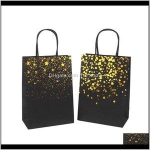 Wrap Black Stamping Handbag Tote Card Fashion Kraft Paper Gift Packaging Bag Green Shopping Bags Eef4342 Lgz2S Lehuv