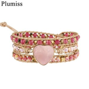 Heart Rose Quartzs Leather Wrap Bracelet For Friend Women Natural Stone Strawberry Crystal Beaded Jewelry With Magnet Tennis