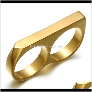 Band Rings Drop Delivery 2021 Personality Simple Punk Stainless Steel Gold Plating Two Finger Hip Hop Jewelry Double Fingers Ring For Men Yrm