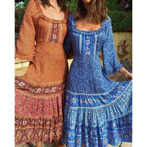 Повседневные платья Винтажный стиль Флористическое платье для печати Женщины 3/4 Рукав О-Шеи Maxi Ремень Талия Пляж Длинные Осенние Vestidos