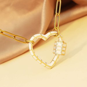 Fashionable gold peach heart ring accessories can be rotated women's love alloy necklace Stainless Steel Pendant