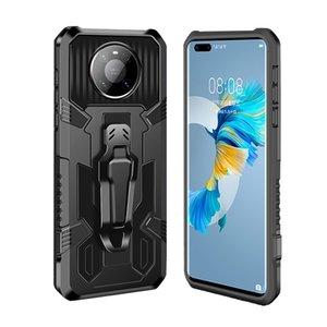 Mecha Zırh Telefon Kılıfları Huawei Mate için 30 40 Pro P SMART-2021 NOVA 6SE 7I Darbeye Standı Tutucu ve Kemer Klip Arka Kapak