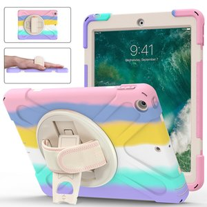 Heavy Duty Hybrid Protective Colorful Silicone Cases with handle kickstand and pen slot for iPad 9.7inch Air