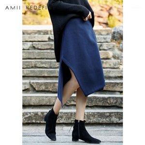 Amii redefinir lana una falda de la línea otoño invierno mujeres 2018 casual sólido asimétrico hendidura alta cintura femenina media pantalones de becerro1