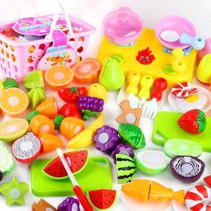 Cocina de plástico caliente Comida Fruta Verduras Corte Niños Pretend Play Educational Juguete Seguridad Niños Cocina Juguetes Conjuntos 889 V2