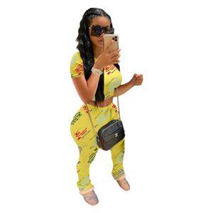 Womens Letter Graffiti Skinny Tracksuits Fashion Trend Short Sleeve Round Neck Sweatshirts Pants Suits Female Autumn Casual Sports 2Pcs Sets