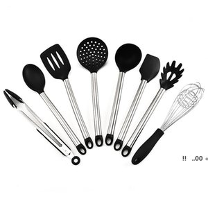 8pcs set Silicone Cooking Utensils with Stainless Steel Handle Nonstick Heat Resistant Kitchen Gadgets Cookware Spatula EWE5709