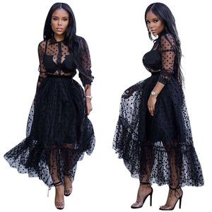 Black Polk Dot Mesh Charming Women Party Dresses Sexy Turn Down Neck Long Sleeves See Through A line Nightclub Casual Dress Ankle Length