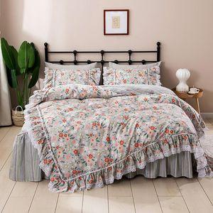 Korean Princess Lace Ruffles Floral Skirt-style Bedding Set Pure Cotton Pastoral Ropa De Cama Couvre Lit Duvet Cover Sets