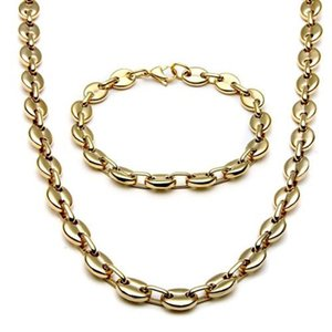 2020 stainless steel jewelry Necklace For Men Women Coffee Bean Shape Melon Seed Chain Stainless Steel Necklace Bracelet Jewelry Set