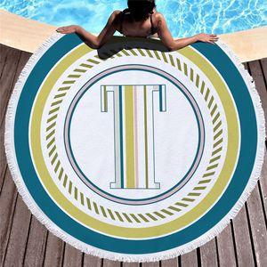Alphabetical style round beach towel sunscreen shawl printing shower blankets colorful circular yoga mats bikini scarf sand towels OOD6372