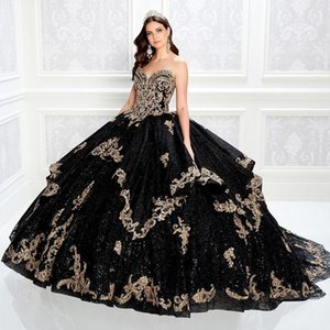 2021 Sexy Shiny Black Sequined Lace Beaded Ball Gown Quinceanera Dresses Sweetheart Gold Appliqued Crystal Prom Gowns Sequins Sweep Train Tulle Sweet 15 Plus Size