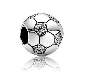 20 pcs Silver Association Futebol Futebol Encantos Europeu Beads Fit Pandora 925 Sterling Silver Snake Corrente Pulseira Charms Jóias DIY Fazendo Mulheres Presente