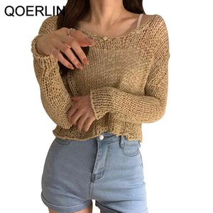 QOERLIN Summer Hawaiian Holiday Hollow Out Tops Girls Chic Korean Style Retro Solid T-Shirts Women Long Sleeve Knitted Tees 210412