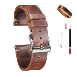 Horwense Натуральные кожаные часы Band Horsehide Handmade 18 мм 20 мм 22 мм 24 мм