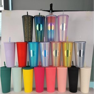 DHL 24oz Personalized Starbucks Iridescent Bling Rainbow Unicorn Studded Cold Cup Tumbler coffee mug with straw 59