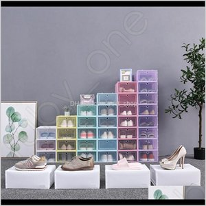 Bins Housekeeping Organization Home & Garden Drop Delivery 2021 Thicken Clear Plastic Dustproof Storage Transparent Shoe Boxes Candy Color St