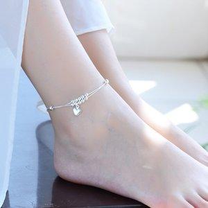 925 Sterling Silver Anklets Jewelry For Womens Double Layer Silver Heart Beads Braccialetti di caviglia Braccialetti Summer Beach Foot Gioielli Body gioielli 27 W2