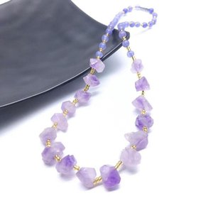 Irregular Natural Purple Crystal Stone Handmade Beaded Necklaces Original Style For Women Girl Party Decor Energy Jewelry