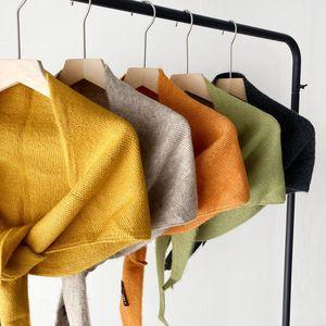 Wraps & Jackets Wedding Bolero Dark Grey Yellow Knitted Shawl Triangle Scarf Double-Sided Soft Elegant Female Winter Warm Cloak 2021