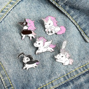 Enamel Brooches Pin for Women Fashion Dress Coat Shirt Demin Metal Funny Pink Cartoon Animal Brooch Pins Badges Promotion Gift 742 Q2