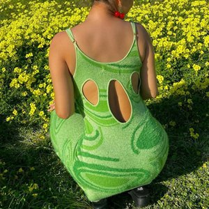 PROPCM Print Knit Bodycon Dress Women Green Y2K Summer Hollow Out Sexy Sleeveless Spaghetti Strap Beach Midi Dresses Party