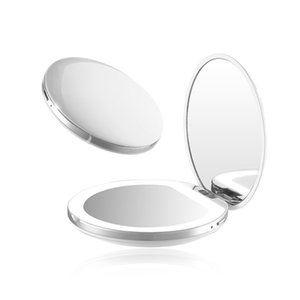 LED Light Mini Makeup Mirror Compact Pocket Face Lip Cosmetic Mirror Travel Portable Lighting Mirror 1X 5X Magnifying Foldable 1302 V2