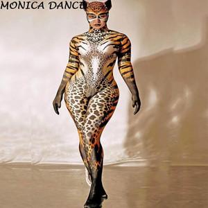 Seksi Sahne Cosplay Leopar Kadın Sıska Tulumlar Kulübü Dansı Catsuit Akşam Parti Balo Kadın Kıyafet Cadılar Bayramı Kostümleri Tulum
