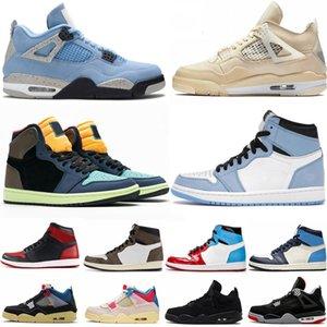 1 Scotts Travis Scotts Chaussures Obsidian Unc Université Bleu Twist Quoi de la chaussure de basket-ball noir Bred 4 4s Voile Guava Ice Femmes Sneakers