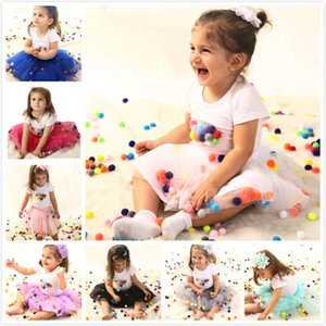 Kids Clothing Sets Girl Suit Outfits Baby Clothes Child Summer Short Sleeve Cotton Birthday T-shirts Tutu Lace Skirts 2Pcs B4833