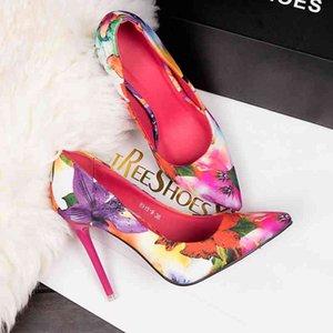 Женские насосы высокие каблуки 10см красочные дамы цветочные печати неглубокие скольжения на остроумие носок офисные туфли женский свадебный ботинок Footwer 210429