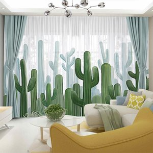 Curtain & Drapes AS 2021 Nordic Modern Ins Wind Simple Cactus Pastoral Small Fresh Nature Children Curtains For Living Dining Room Bedroom