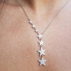Sdzstone Silver Color Gold Cute Danity 7pcs Star Charm Pendant Necklace 2021 Christmas Gift Delicate Chain Chains